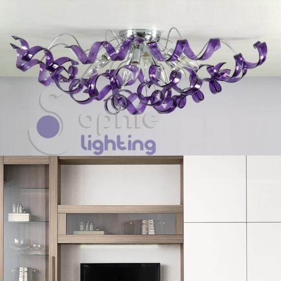Plafoniera moderna soffitto diametro 90 cm spirali cristallo viola salone