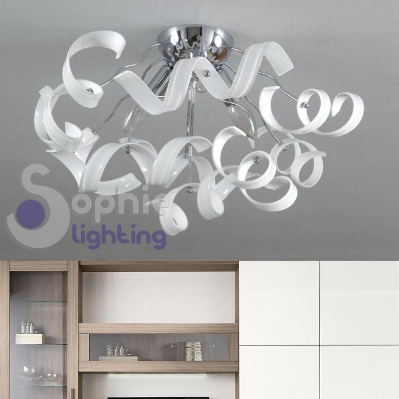 Lampada soffitto moderna cromata spirali cristallo bianco design bagno ingresso