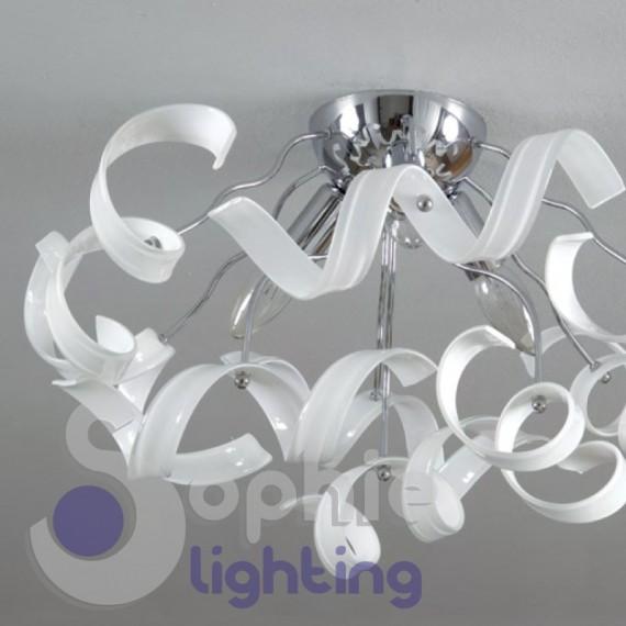 Lampada soffitto moderna cromata spirali cristallo bianco design ba for Lampada bagno soffitto