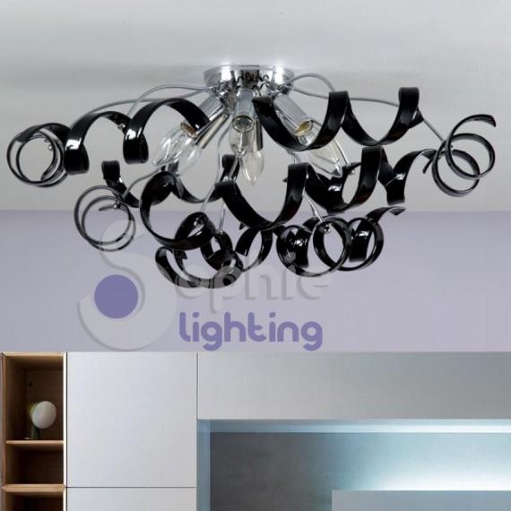 Plafoniera moderna colori personalizzabili cristalli neri design moderno stanza letto