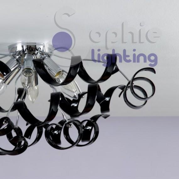 Plafoniera moderna colori personalizzabili cristalli neri for Plafoniera moderna