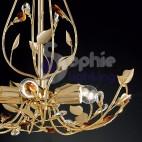 Lampadario design moderno cromato oro cristalli
