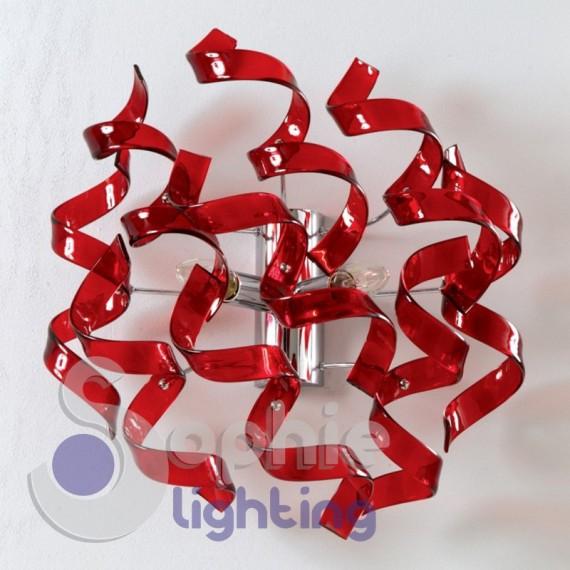 Applique parete moderno spirali cristallo rosso colore personalizzabile acciaio cromo corridoio vano scala