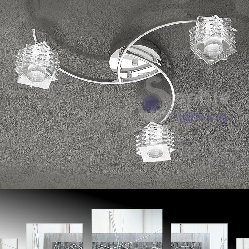 Plafoniera moderna soffitto 3 luci bracci cristalli cubo - Plafoniere per bagno ...