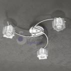 Plafoniera moderna soffitto 3 luci bracci cristalli cubo design acciaio cromato cucina