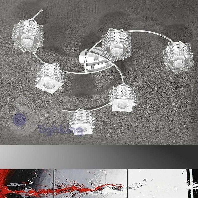Plafoniera lampadario moderno soffitto 6 luci bracci design cubi cristallo soggiorno