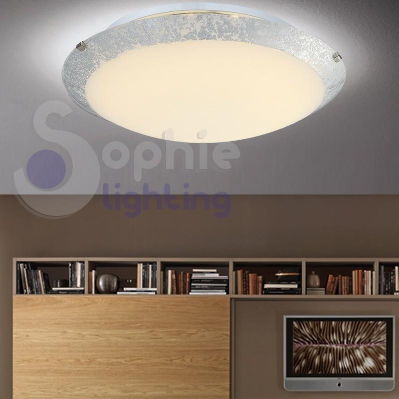 Plafoniera moderna LED design rotonda 30 cm vetro foglia argento ingresso soggiorno