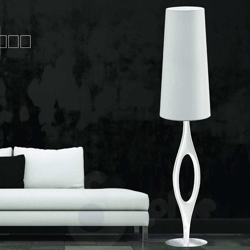 piantana moderna design paralume alto bianco acciaio