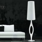 Piantana moderna design paralume alto bianco acciaio cromato soggiorno salone