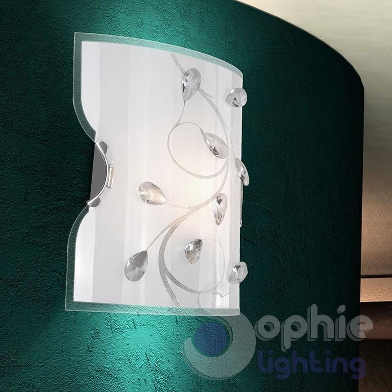 Applique parete moderna design vetro bianco mandorle - Applique parete design ...