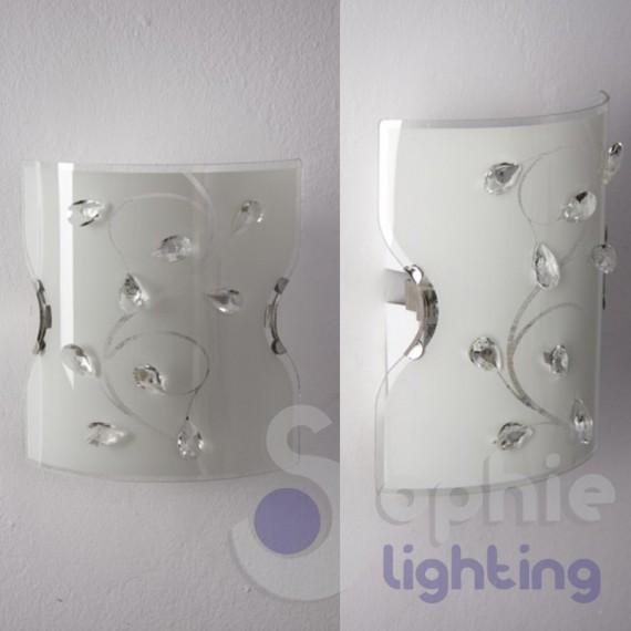 Applique parete moderna design vetro bianco mandorle cristallo corr - Applique da camera da letto ...