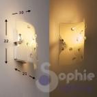 Applique parete moderna design vetro bianco mandorle cristallo corridoio vano scala