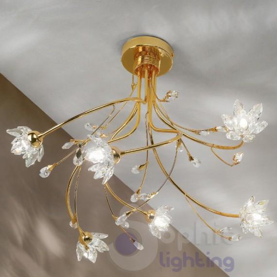 Lampadario moderno 6 luci cromo oro fiori cristallo lampadari moderni