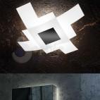 Plafoniera moderna design 2 vetri sovrapposti incrociati bianco satinato nero soggiorno