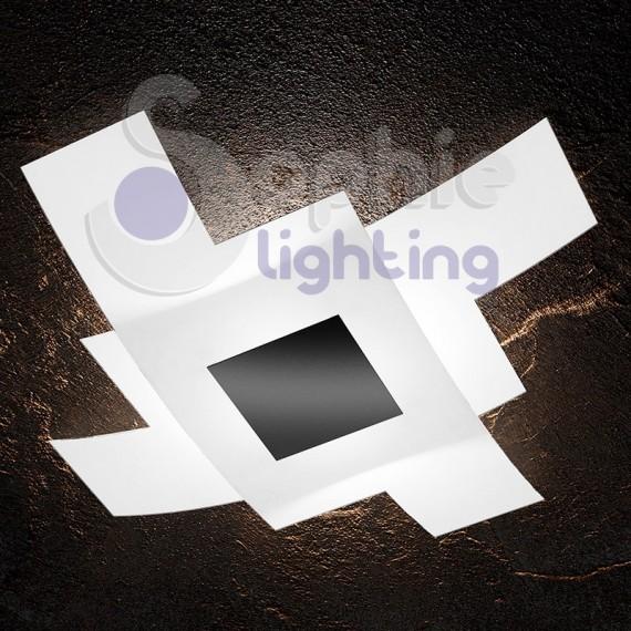 Plafoniera moderna design 2 vetri sovrapposti incrociati bianco sat...