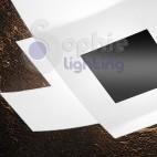 Plafoniera moderna lampadario soffitto 75 cm 2 vetri incrociati bianco nero soggiorno salone