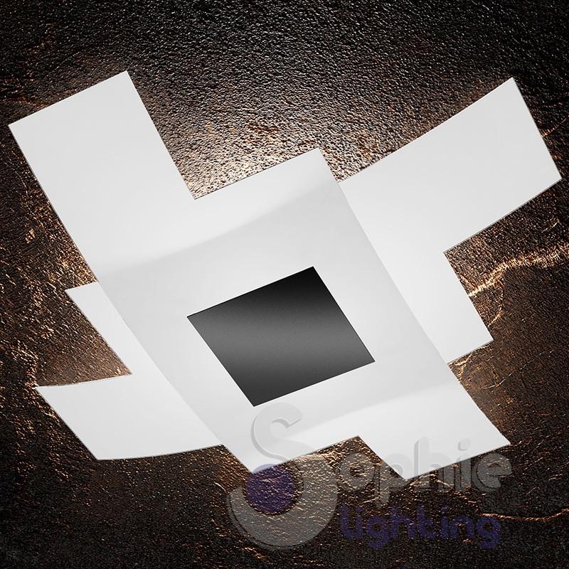 Plafoniera soffitto moderna grande 95x95 cm design minimal doppio v...