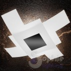 Plafoniera soffitto moderna grande 95x95 cm design minimal doppio vetro incrociato bianco nero soggiorno