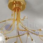 Lampadario 3 luci cromato oro fiori cristallo