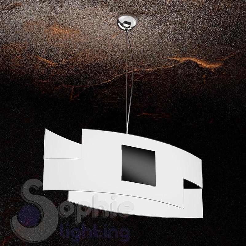 Lampadario sospensione moderno design 2 vetri curvi bianco nero cucina