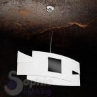 Lampadario moderno design sospensione 2 vetri curvi satinati bianco nero cucina tavolo