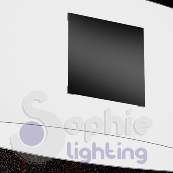 Lampadario moderno design sospensione 2 vetri curvi satinati bianco ...