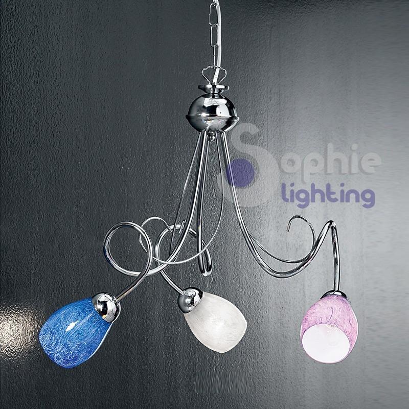 Lampadario moderno 3 luci design vetri colorati acciaio cromato cucina soggiorno