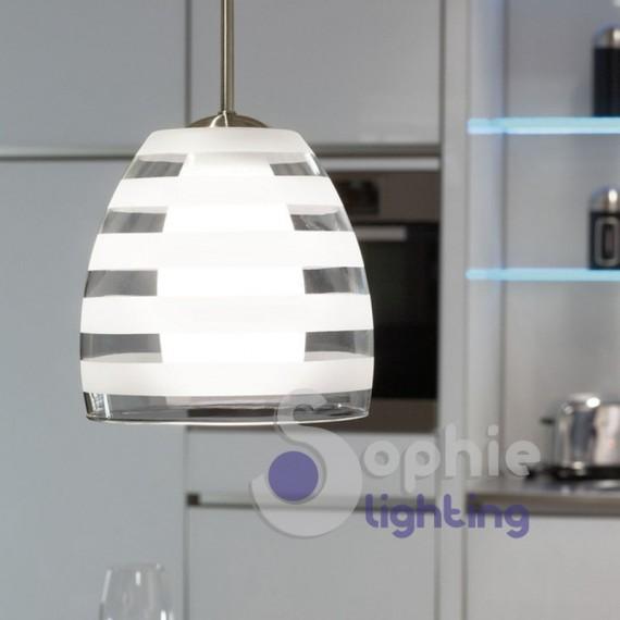 Lampadario sospensione design moderno doppio vetro trasparente satinato bianco cucina tavolo penisola