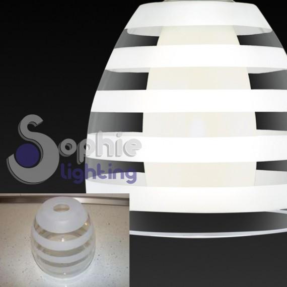 Lampadario sospensione design moderno doppio vetro for Tavolo vetro satinato