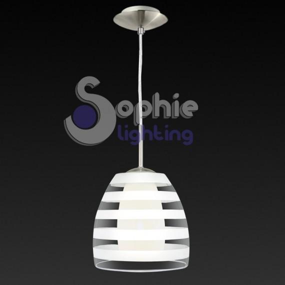 Lampadario sospensione design moderno doppio vetro trasparente sati...
