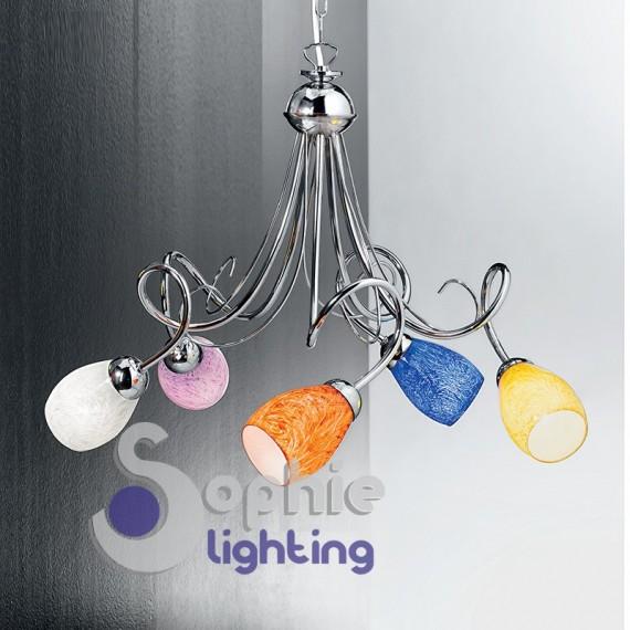 Lampadario moderno 5 luci bracci vetri colorati acciaio - Lampadari soggiorno cucina ...