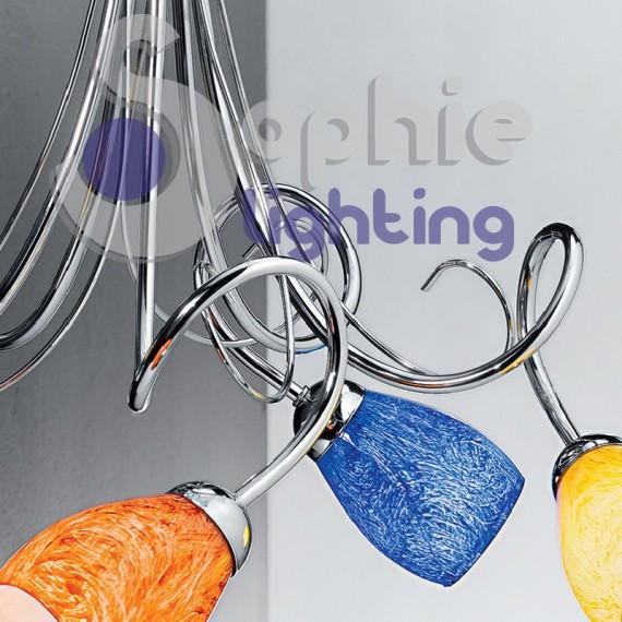 Lampadario moderno 5 luci bracci vetri colorati acciaio for Luci cucina design