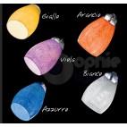 Lampadario moderno 5 luci bracci vetri colorati acciaio cromato design soggiorno cucina