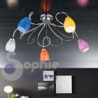 Plafoniera moderna design 5 luci cromo vetro soffiato colorato arancio giallo blu bianco lilla