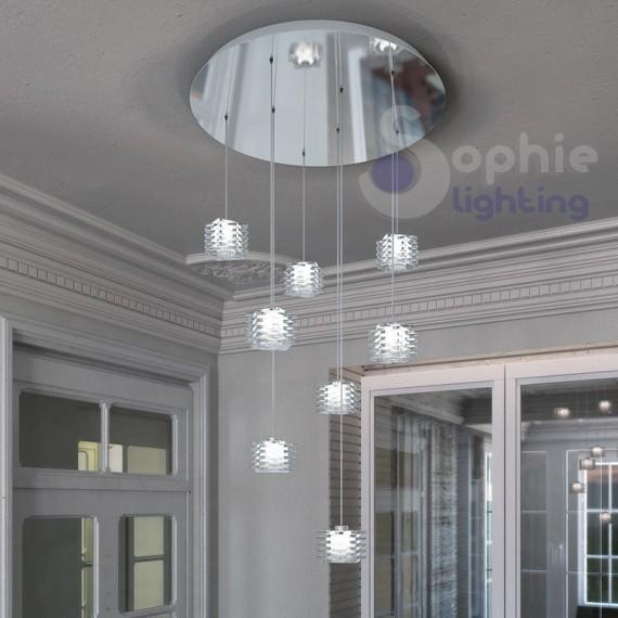 Sospensione plafoniera soffitto 8 pendenti cristallo cubo design moderno acciaio cromato diametro 40 cm soggiorno