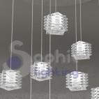 Sospensione plafoniera soffitto 8 pendenti cristallo cubo design moderno acciaio cromato diametro 60 cm soggiorno