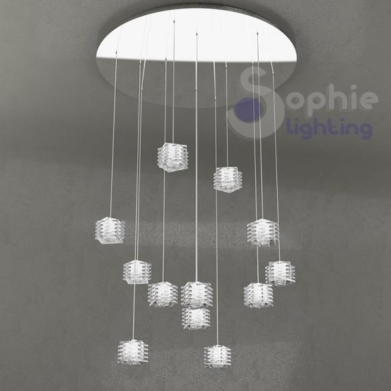 Plafoniera lampadario sospensione moderno maxi diametro 80 cm 12 luci pendenti cristallo cubo soggiorno