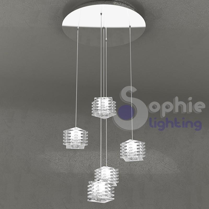 Plafoniera sospensione 5 luci pendenti regolabili design moderno acciaio cromo cubi cristallo