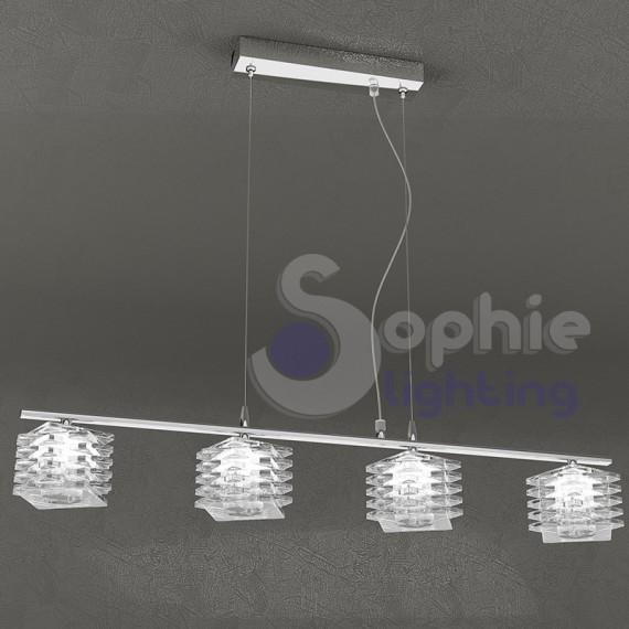 Lampadario moderno sospensione barra 70 cm 4 luci cristalli cubo tavolo penisola cucina