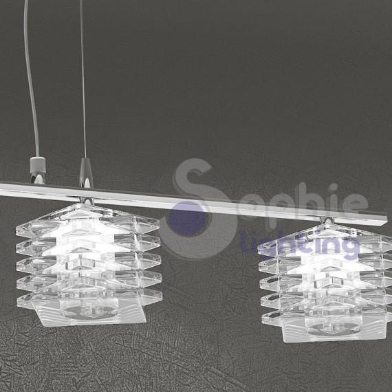 Lampadario moderno sospensione barra 70 cm 4 luci cristalli cubo ta...