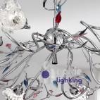 Lampadario design foglie cristallo colorato-ADELE-S8