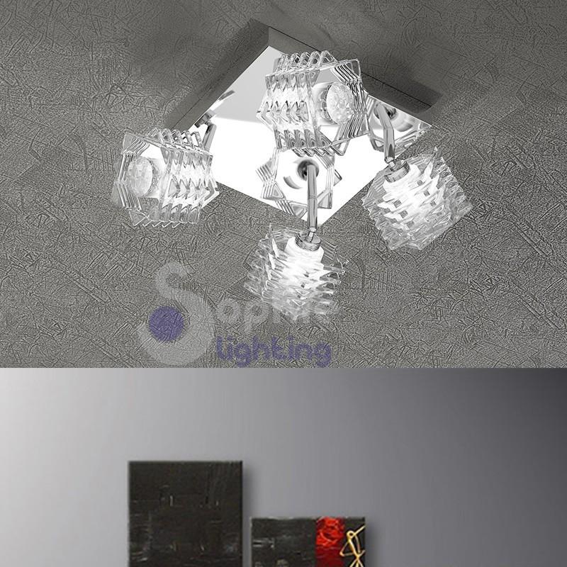 Plafoniera moderna 4 luci spot faretti orientabili design for Luci faretti