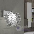 Applique moderna faretto spot orientabile acciaio cromato cristallo cubo bagno stanza letto