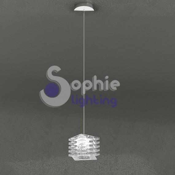 Lampada sospensione altezza regolabile design moderno cubo cristall - Lampada sospensione sopra tavolo altezza ...