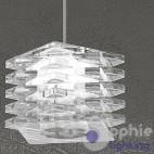 Lampada sospensione altezza regolabile design moderno cubo cristallo tavolo cucina penisola