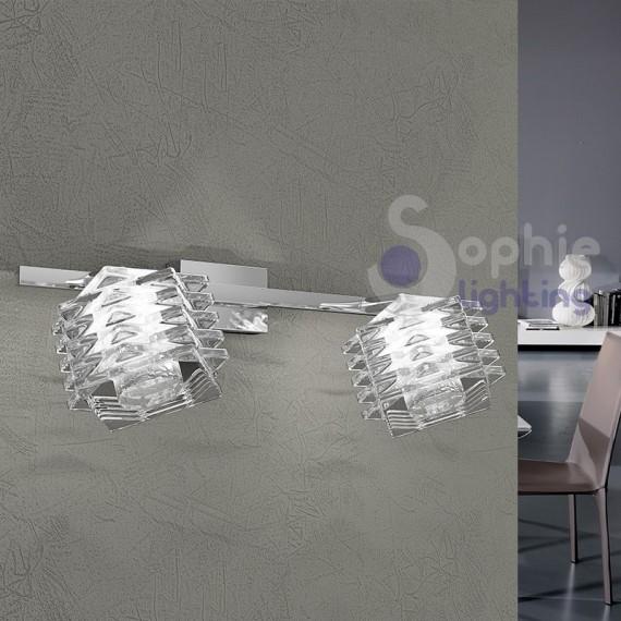 Applique moderno 2 luci spot faretti orientabili cristallo cubo acciaio cromato corridoio vano scala