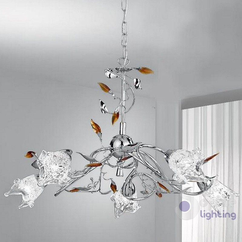 Lampadario 5 luci foglie cristallo ambra-ADELE-S5