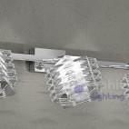Lampada parete 3 luci spot faretti specchiera orientabili cristallo cubo design moderrno