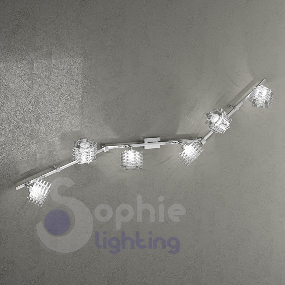 Lampada da parete lunga 135 cm 6 luci faretti bracci orientabili spot cristallo design moderno soggiorno