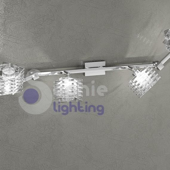 Lampada da parete lunga 135 cm 6 luci faretti bracci for Faretti da parete